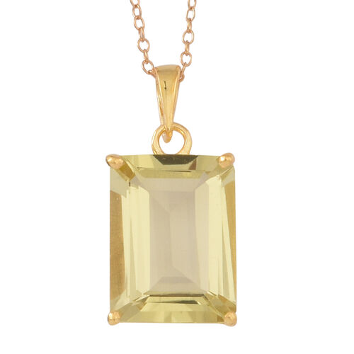 Natural Ouro Verde Quartz (Oct) Solitaire Pendant With Chain in 14K Gold Overlay Sterling Silver 9.000 Ct.