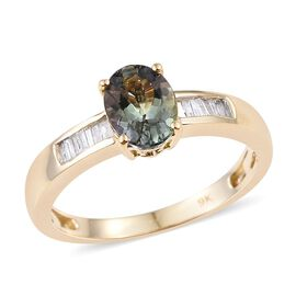 9K Y Gold Green Tanzanite (Ovl 1.05 Ct), Diamond Ring 1.150 Ct.