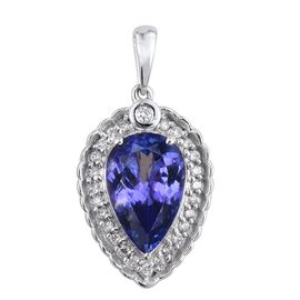 ILIANA 18K W Gold AAA Tanzanite (Pear 3.00 Ct), Diamond (SI/G-H) Pendant 3.250 Ct.