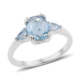 Sky Blue Topaz (Cush 3.00 Ct) Ring in Sterling Silver 3.250 Ct.