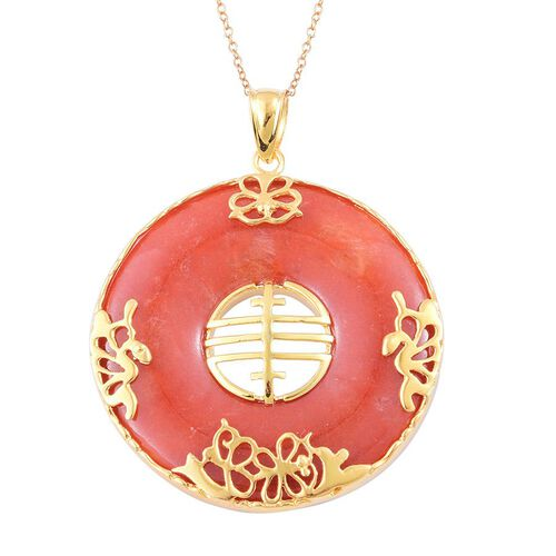 Hand Polished Red Jade Chinese Character FENG (Abundance) Pendant with Chain in Yellow Gold Overlay Sterling Silver 80.100 Ct.