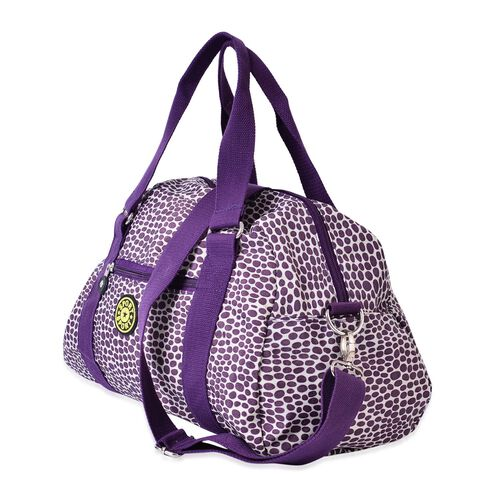 Cream and Purple Colour Dots Pattern Waterproof Sport Bag with External Zipper Pocket and Adjustable Shoulder Strap (Size 38x25x14 Cm)