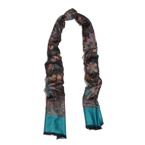 100% Modal Black Green and Multi Colour Jacquard Scarf (Size 190x70 Cm)