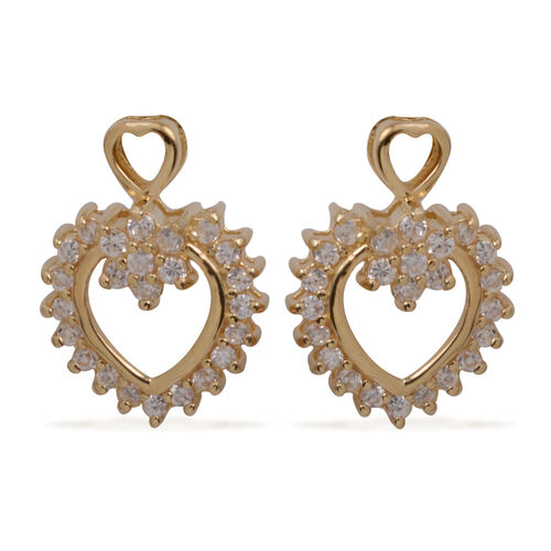 ELANZA AAA Simulated Diamond (Rnd) Earrings (with Push Back) in Yellow Gold Overlay Sterling Silver