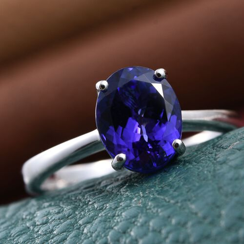 RHAPSODY 950 Platinum 3 Carat AAAA Tanzanite Oval Solitaire Ring.