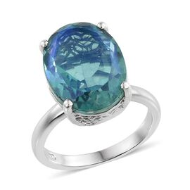 Peacock Quartz (Ovl) Solitaire Ring in Platinum Overlay Sterling Silver 10.000 Ct.
