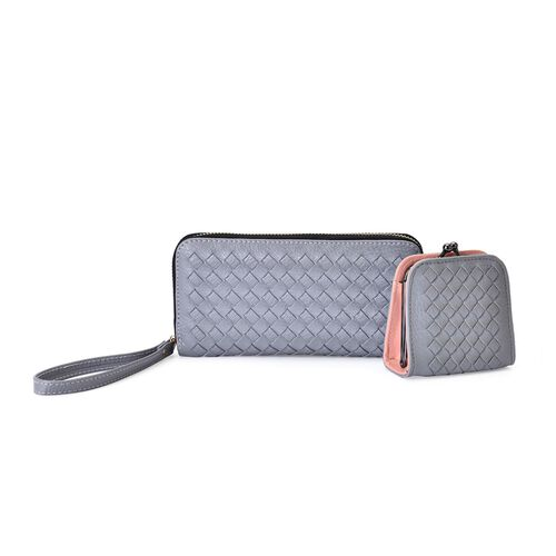 Celina Classic Grey Intrecciato Textured Wallet And Cardholder Set (Size 19x9x2.5 Cm and 9x8.5x4.5 Cm)