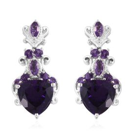 Stefy Amethyst (Trl), Pink Sapphire Earrings (with Push Back) in Platinum Overlay Sterling Silver 11.500 Ct. Silver Wt. 10.59 Gms