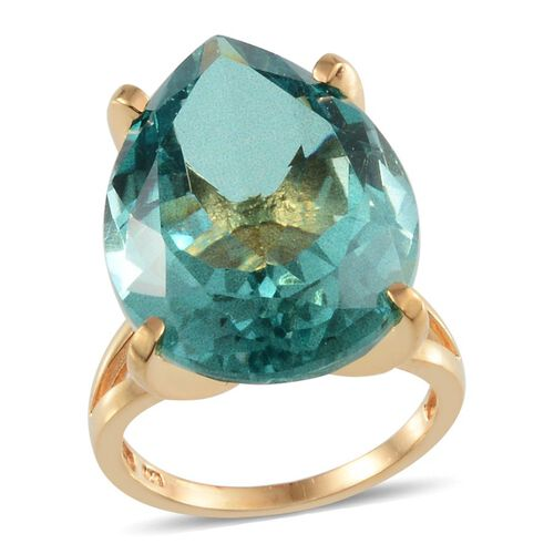 Paraiba Tourmaline Colour Quartz (Pear) Ring in 14K Gold Overlay Sterling Silver 28.000 Ct.