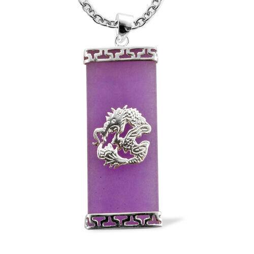 Enhanced Purple Jade Pendant With Chain (Size 18) in Sterling Silver 15.000 Ct.