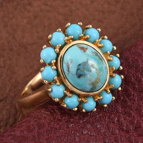 Arizona Matrix Turquoise (Ovl 2.00 Ct), Sonoran Turquoise Floral Ring in 14K Gold Overlay Sterling Silver 3.250 Ct.