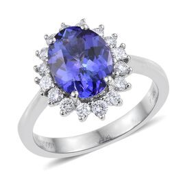 RHAPSODY 950 Platinum AAAA Tanzanite (Ovl 3.05 Ct), Diamond Ring 3.600 Ct.
