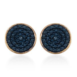 Blue Diamond Stud Earrings  in 14K Gold Overlay Sterling Silver