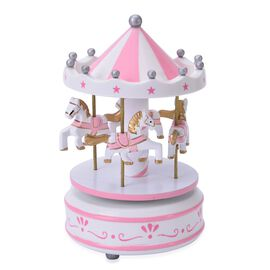 Pink and White Vintage Style Wooden Horses Carosel