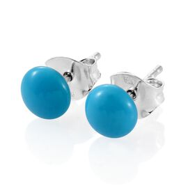 9K White Gold 1.50 Carat Arizona Sleeping Beauty Turquoise Round Ball Stud Earrings (with Push Back)
