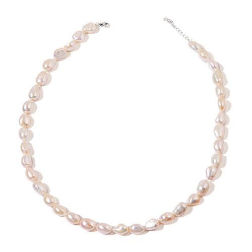 (Option 1) Fresh Water White Pearl Necklace (Size 18 with 2 inch Extender) in Rhodium Plated Sterling Silver