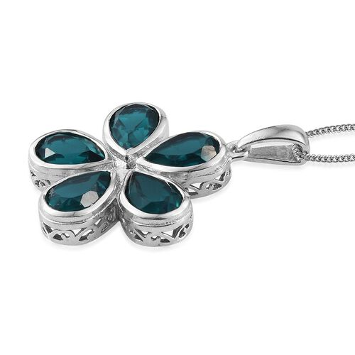 Capri Blue Quartz (Pear) Floral Pendant With Chain in Platinum Overlay Sterling Silver 7.750 Ct.