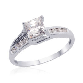 J Francis - Platinum Overlay Sterling Silver (Sqr) Ring Made with SWAROVSKI ZIRCONIA 1.570 Ct.