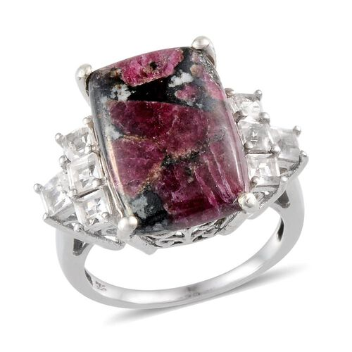 Natural Russian Eudialyte (Cush 8.75 Ct), White Topaz Ring in Platinum Overlay Sterling Silver 10.250 Ct.