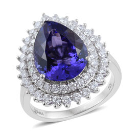 One Off ILIANA 18K White Gold 8.27 Carat AAA Tanzanite Engagement Ring With Diamond SI G-H