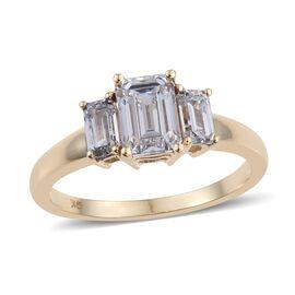 9K Y Gold (Oct) 3 Stone Ring Made with SWAROVSKI ZIRCONIA