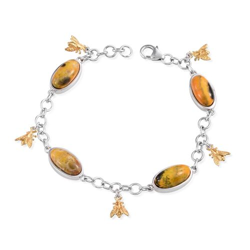 Bumble Bee Jasper (Ovl) Bee Charm Bracelet (Size 7.5) in Platinum Overlay Sterling Silver 14.500 Ct.