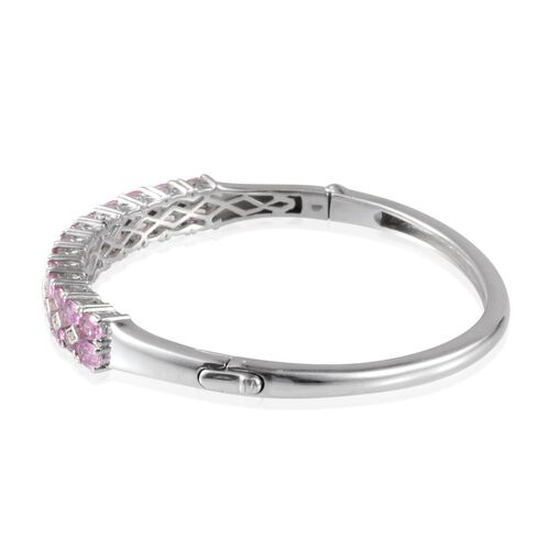 Pink Sapphire (Ovl), Diamond Bangle (Size 7.5) in Platinum Overlay Sterling Silver 6.300 Ct.