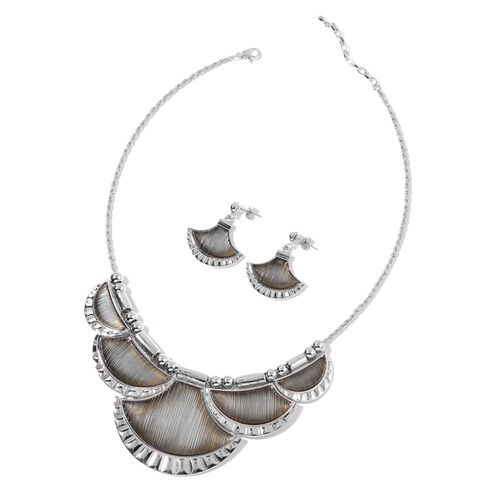 Simulated Grey Colour Diamond Necklace (Size 20 with 2 inch Extender) and Earrings (with Push Back) in Silver Tone with Stainless Steel