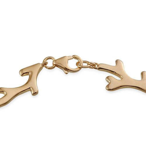 14K Gold Overlay Sterling Silver Coral Reef Bracelet (Size 7.5), Silver wt 7.80 Gms.