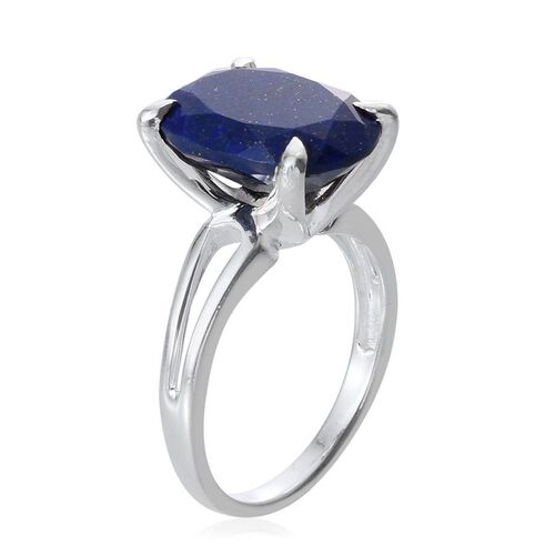 Lapis Lazuli (Ovl) Solitaire Ring in Sterling Silver 7.750 Ct.