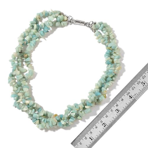 Russian Amazonite and Quartzite Beads Multi Functional Necklace (Size 18) with Magnetic Clasp Lock in Silver Tone 678.000 Ct.