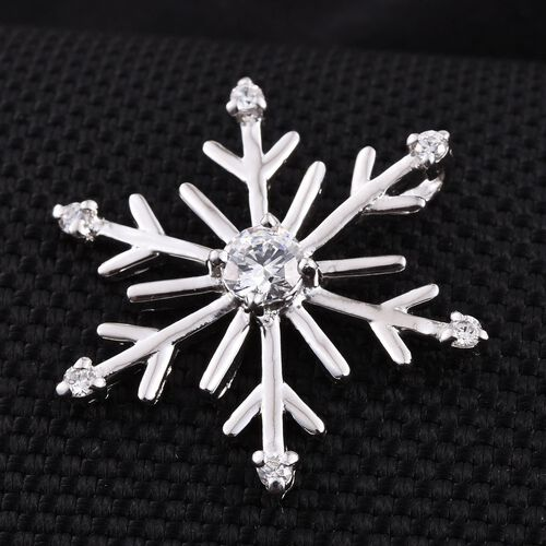 J - Francis Platinum Overlay Sterling Silver (Rnd) Snowflake Pendant made with SWAROVSKI ZIRCONIA