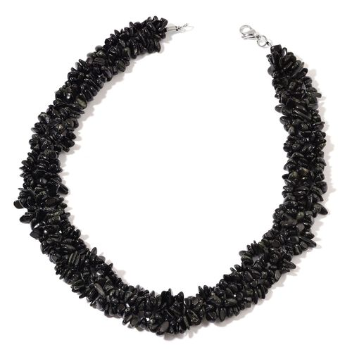 Black Tourmaline Necklace (Size 18) and Stretchable Bracelet (Size 7.50) in Rhodium Plated Sterling Silver 902.050 Ct.