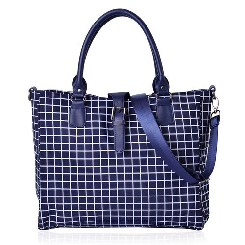 City Classic Light Weight Water Resistant White and Navy Colour Checks Pattern Tote Bag with Adjustable Shoulder Strap (Size 34x28x12 Cm)