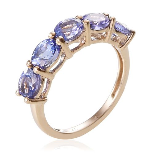 9K Y Gold Tanzanite (Ovl) 5 Stone Ring 1.750 Ct.