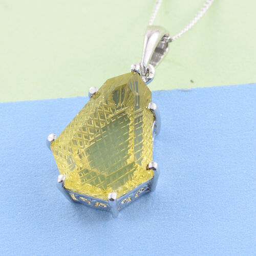 Premium Laser Cut Natural Green Gold Quartz Solitaire Pendant in Platinum Overlay Sterling Silver 7.250 Ct.