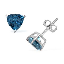 London Blue Topaz (Trl) Stud Earrings (with Push Back) in Platinum Overlay Sterling Silver 2.500 Ct.