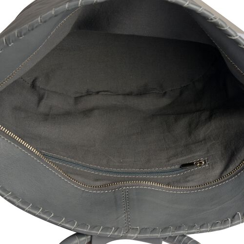 Designer Inspired - 100% Genuine Leather RFID Blocker Grey Colour Handbag (Size 35X25X15 Cm)