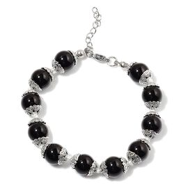 Black Agate Bracelet (Size 7.5 with 1 inch Extender) in Silver Tone 25.000 Ct.