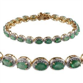 Kagem Zambian Emerald (Ovl), Diamond Bracelet in 14K Gold Overlay Sterling Silver (Size 8) 9.750 Ct.