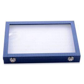 Blue Velvet 100 Slot Ring/Earring Box (Size 34x23x4 Cm)