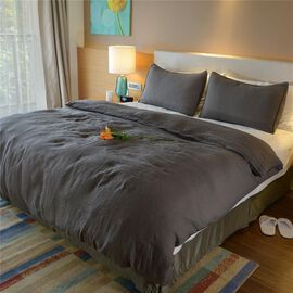 100% Linen Stone Washed Steel Colour Double Size Duvet Cover (Size 200x200 Cm) and Two Pillow Cases (Size 75x50 Cm)