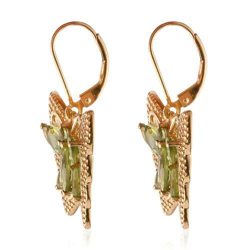 Hebei Peridot (Mrq) Butterfly Lever Back Earrings in 14K Gold Overlay Sterling Silver 5.000 Ct. Silver wt 7.00 Gms.