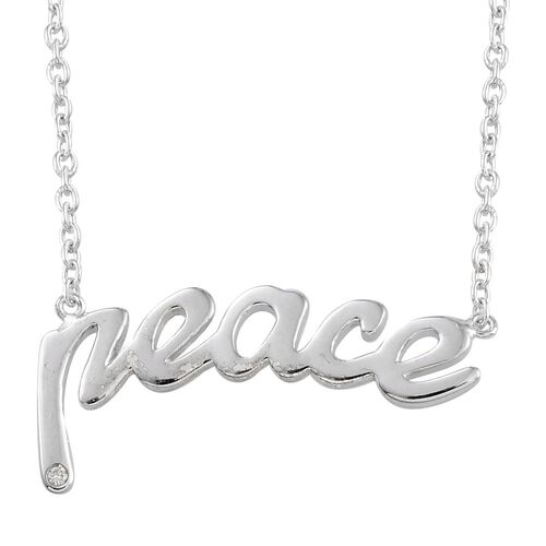 Diamond (Rnd) Peace Message Necklace in Platinum Overlay Sterling Silver