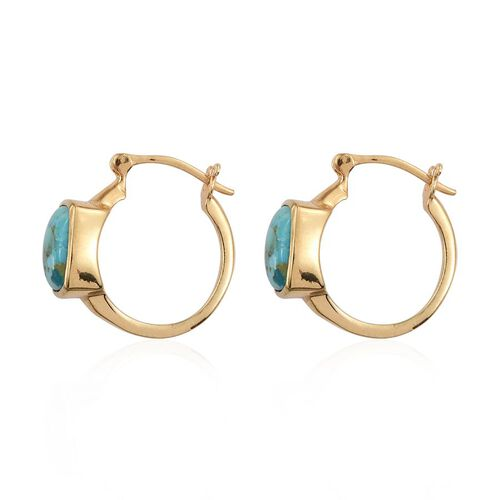 Arizona Matrix Turquoise (Cush) Hoop Earrings in 14K Gold Overlay Sterling Silver 4.500 Ct.