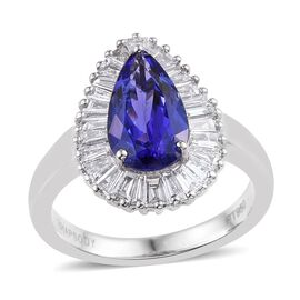 RHAPSODY 950 Platinum AAAA Tanzanite (Pear 2.20 Ct), Diamond Ring 3.000 Ct.
