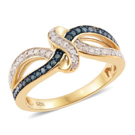 0.33 Carat Blue And White Diamond Infinity Knot Ring in 14K Gold Overlay Sterling Silver