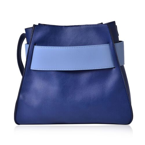 Set of 2 - Navy and Light Blue Colour Large Handbag with Adjustable Shoulder Strap and Small Handbag (Size 28x25x12.5 Cm, 17.5x15x7.5 Cm)
