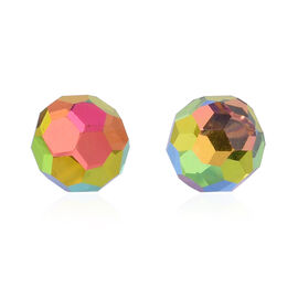 Multi Colour Faceted AAA Austrian Crystal (Rnd 8MM) Stud Earrings (with Push Back) in Sterling Silver 8.000 Ct.