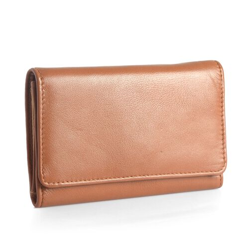 Genuine Leather RFID Blocker Tan Colour Ladies Purse (Size 15.5x8.5 Cm)